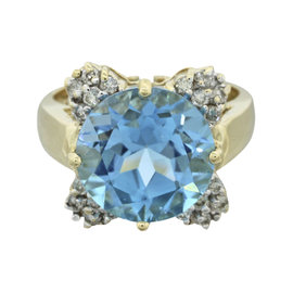 LeVian 14K Yellow Gold with 6.00ct Blue Topaz & 0.20ct Diamond Cocktail Ring Size 6.25