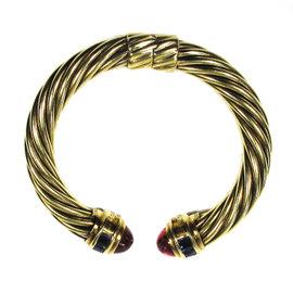 David Yurman 14K Gold Pink Tourmaline Iolite Renaissance Cuff Bracelet