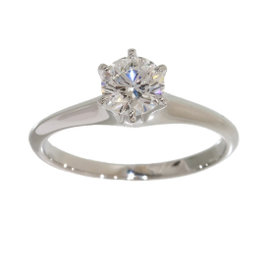 Mikimoto Platinum Pt950 0.54ct Diamond Ring Size 5.25