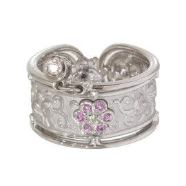 Carrera Y Carrera 18K White Gold Diamonds & Pink Sapphire Ring 6.5