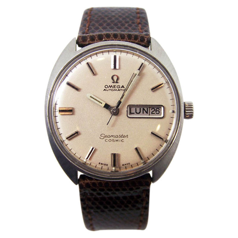 "Image of ""Omega Seamaster Cosmic Stainless Steel / Leather Automatic Vintage"""