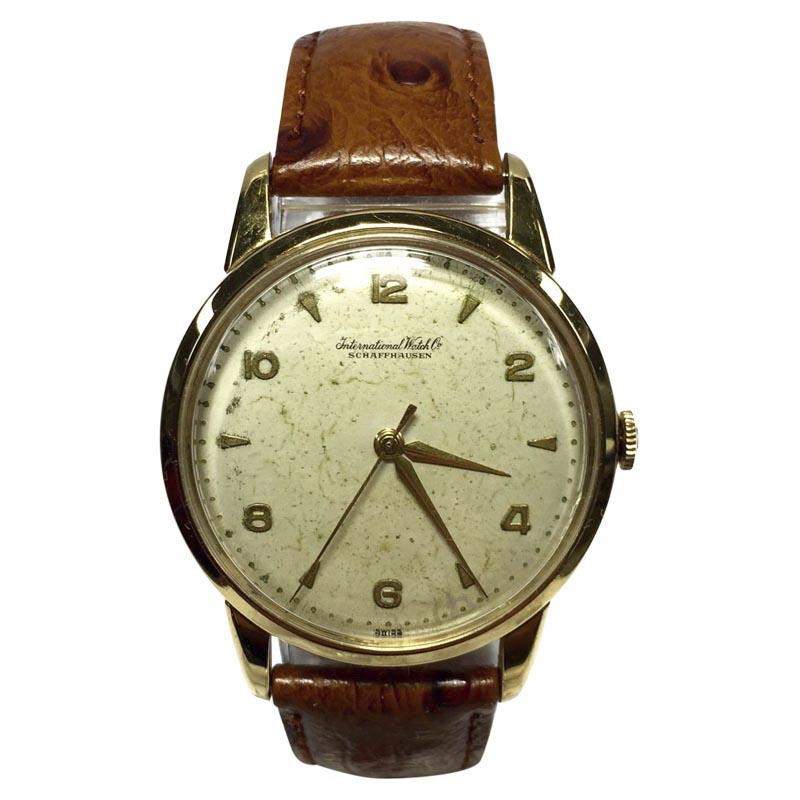 "Image of ""IWC 18K Yellow Gold / Leather Automatic 36mm Mens Watch"""