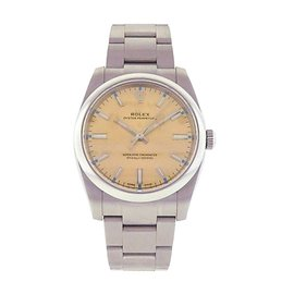 Rolex Oyster Perpetual 114200 Stainless Steel Automatic Champagne 34mm Mens Watch