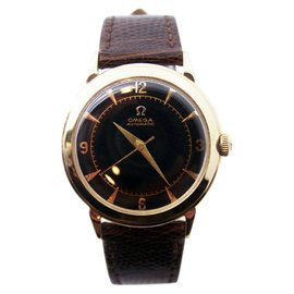 Omega 14K Yellow Gold Leather Automatic Vintage 34.3mm Mens Watch