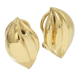 Mikimoto 18K Yellow Gold Leaf Motif Design Clip Earrings