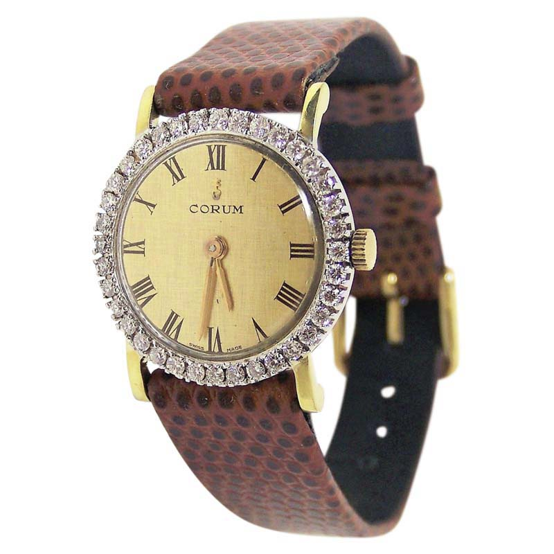 """Image of """"Corum 27307 18K Yellow Gold / Leather Vintage 24mm Womens Watch"""""""