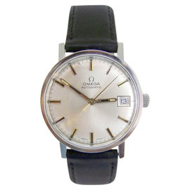 Omega Stainless Steel / Leather Vintage 33mm Mens Watch