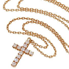 Cartier 18K Rose Gold Diamonds Cross Chain Pendant Necklace