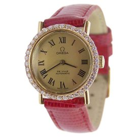 Omega De Ville 18K Yellow Gold / Leather Vintage 24mm Womens Watch