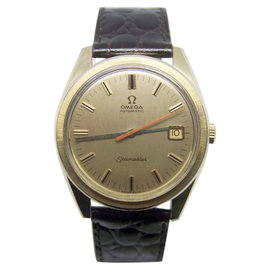 Omega Seamaster Date 14K Yellow Gold / Leather Vintage 36.5mm Mens Watch