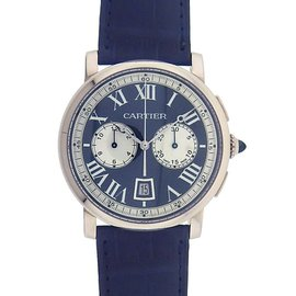 Cartier Rotonde 18K White Gold Automatic Chronograph Skeleton 40mm Mens Dress Watch