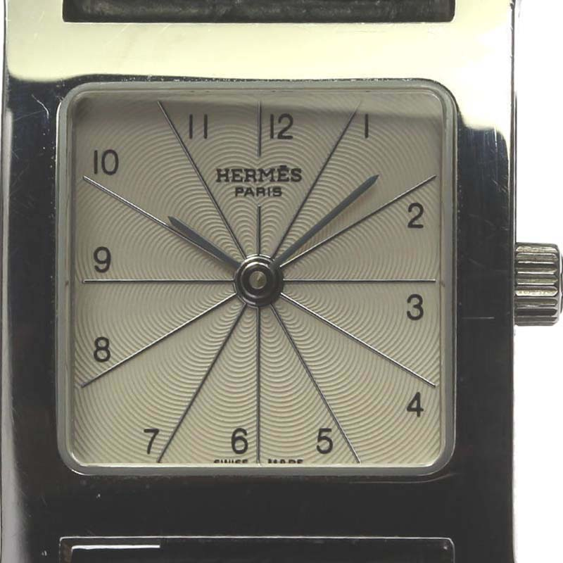 "Image of ""Hermes H Watch Hh1.210 Stainless Steel Silver Dial Quartz Leather"""