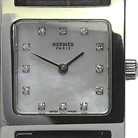 Hermes H Watch HH1.210 Stainless Steel 12P Diamond Shell Dial Quartz Leather Belt 21.5mm Womens Watch