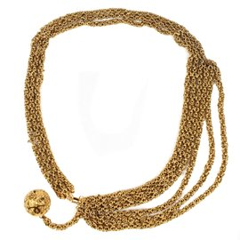 Chanel Gold Tone Hardware Multichain Ball CC Logo Tassle Pendant Chain Necklace