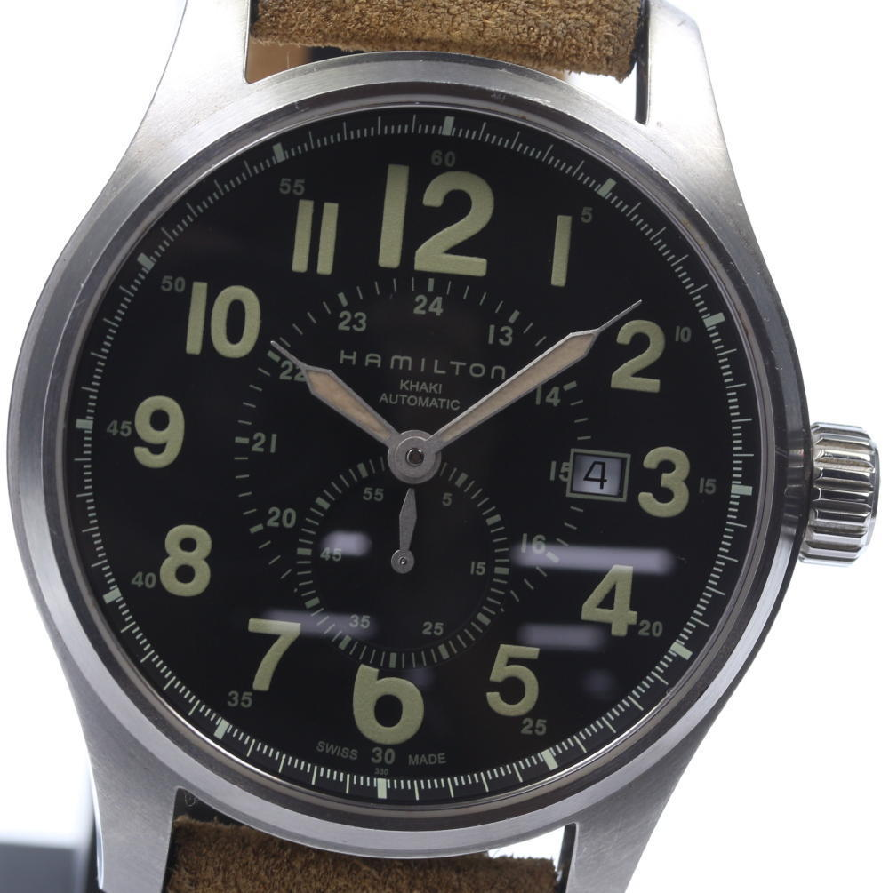 """Image of """"Hamilton H706650 Stainless Steel Automatic Leather Belt 44mm Mens"""""""