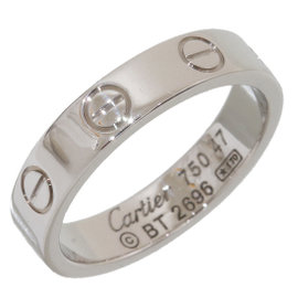 Cartier Mini Love 18K White Gold Ring Size 4