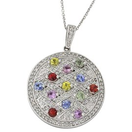 Effy 14K White Gold with Diamond and Sapphire Disc Pendant Necklace