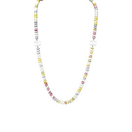 Chanel Gold Tone Hardware CC Logo Pastel Multicolor Bead Strand Necklace