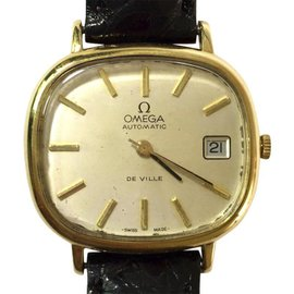 Omega De Ville 18K Yellow Gold / Leather Automatic 33.5mm Unisex Watch
