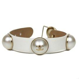 Chanel Faux Pearl White Leather CC Logo Charms Cuff Bangle Bracelet