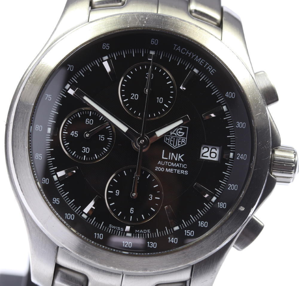 "Image of ""Tag Heuer Link Cjf2110 Stainless Steel Automatic 41mm Mens Watch"""