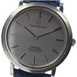 Omega Constellation Stainless Steel & Leather Silver Dial Automatic 34.5mm Men's Watch