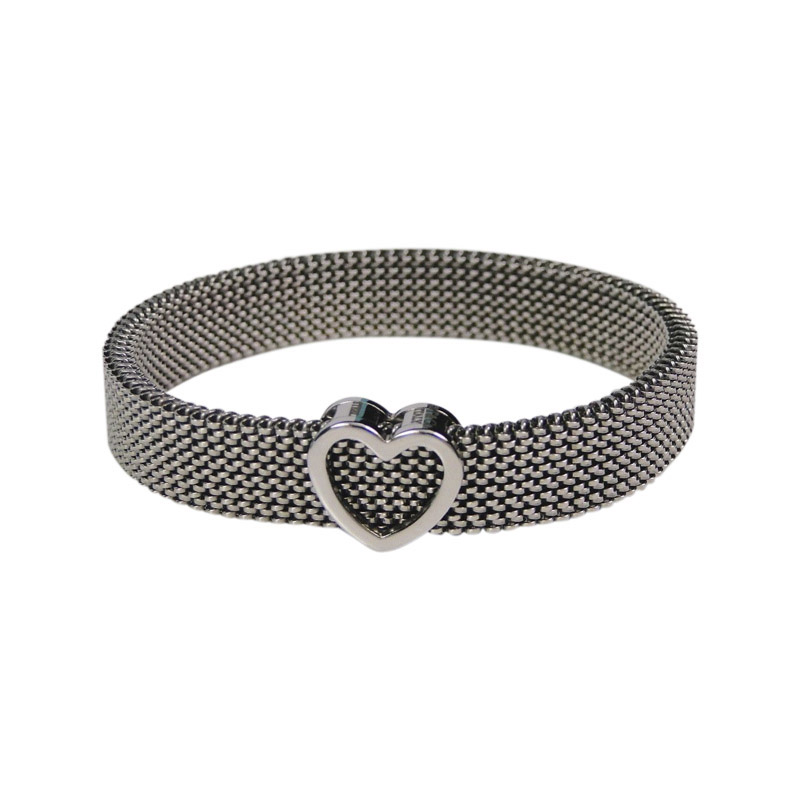 "Image of ""Tiffany & Co. Somerset Stainless Steel Heart Stretch Bangle Bracelet"""