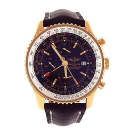 Breitling Navitimer World K24322 18K Yellow Gold & Leather 46mm Mens Special Edition Watch