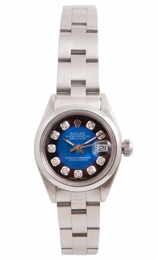 """Image of """"Rolex Datejust Stainless Steel Blue Vignette Diamond Dial 26mm Womens"""""""
