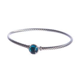 David Yurman Chatelaine 925 Sterling Silver With Blue Topaz Bracelet