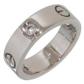 Cartier 18K White Gold Half Diamonds Love Ring Size 5.75
