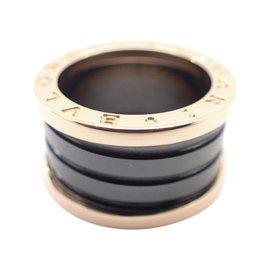 Bulgari B-Zero1 18K Rose Gold & Black Ceramic Ring Size 5.25