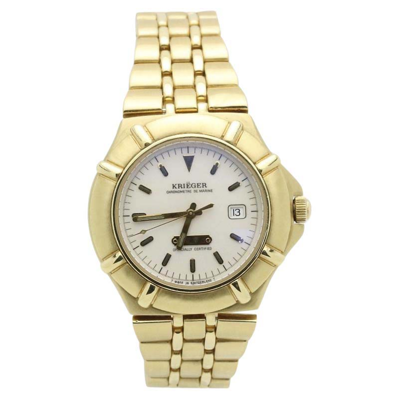 "Image of ""Kreiger Chronometre De Marine K929 18K Yellow Gold Quartz 40mm Mens"""