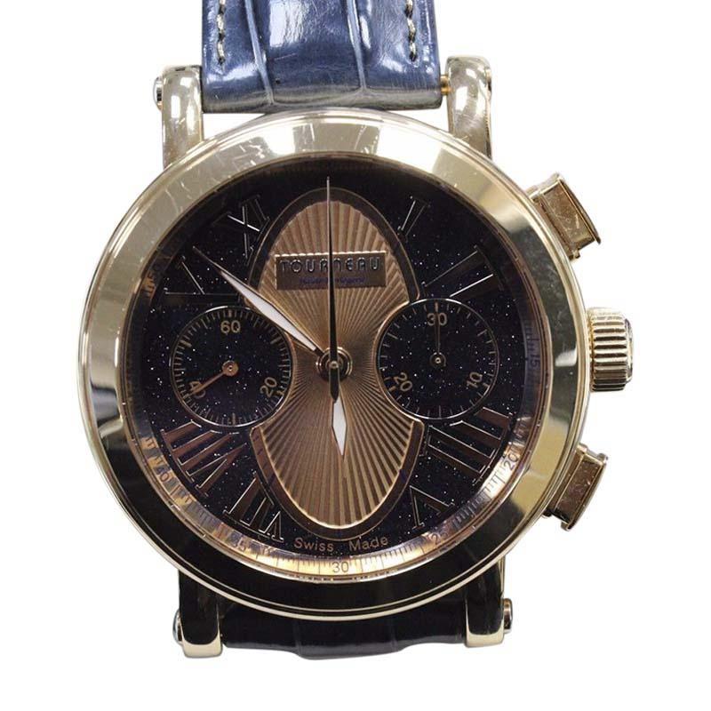 "Image of ""Tourneau Gotham 18K Rose Gold Blue & Rose Color Dial 41mm Mens Watch"""