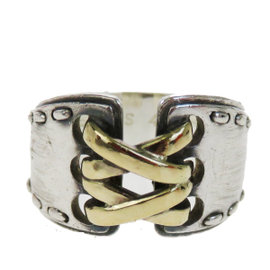 Hermes 925 Sterling Silver & 18K Yellow Gold Vintage Corset Ring Size 5.5