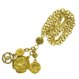 Chanel Vintage CC Logos Gold Tone Hardware Pendant Necklace