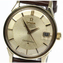 Omega Constellation Stainless Steel / Leather 34mm Vintage Mens Watch