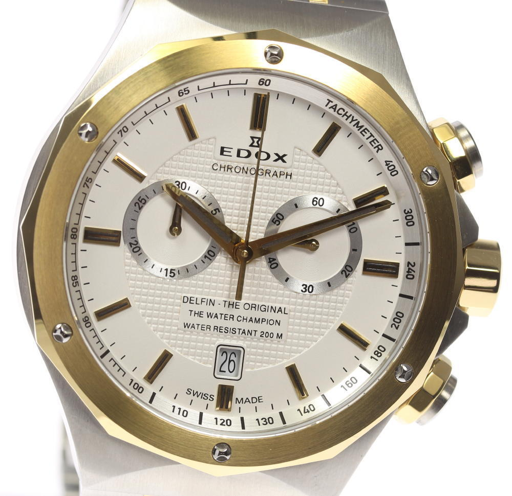 """Image of """"Edox Delfin 10108.357J Stainless Steel / Gold Plated Quartz 44mm Mens"""""""