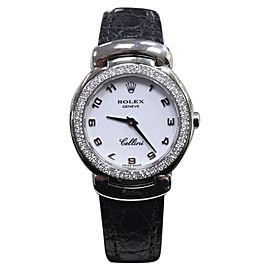 Rolex Cellini Cellissima 6671 18K White Gold & Diamond Bezel 26mm Womens Watch