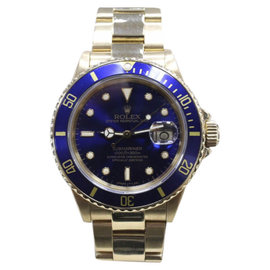Rolex Submariner 16808 18K Yellow Gold & Blue Dial 40mm Mens Watch