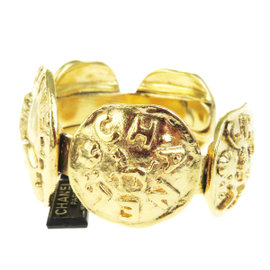 Chanel Vintage Gold Tone Hardware Medallion CC Bangle Bracelet