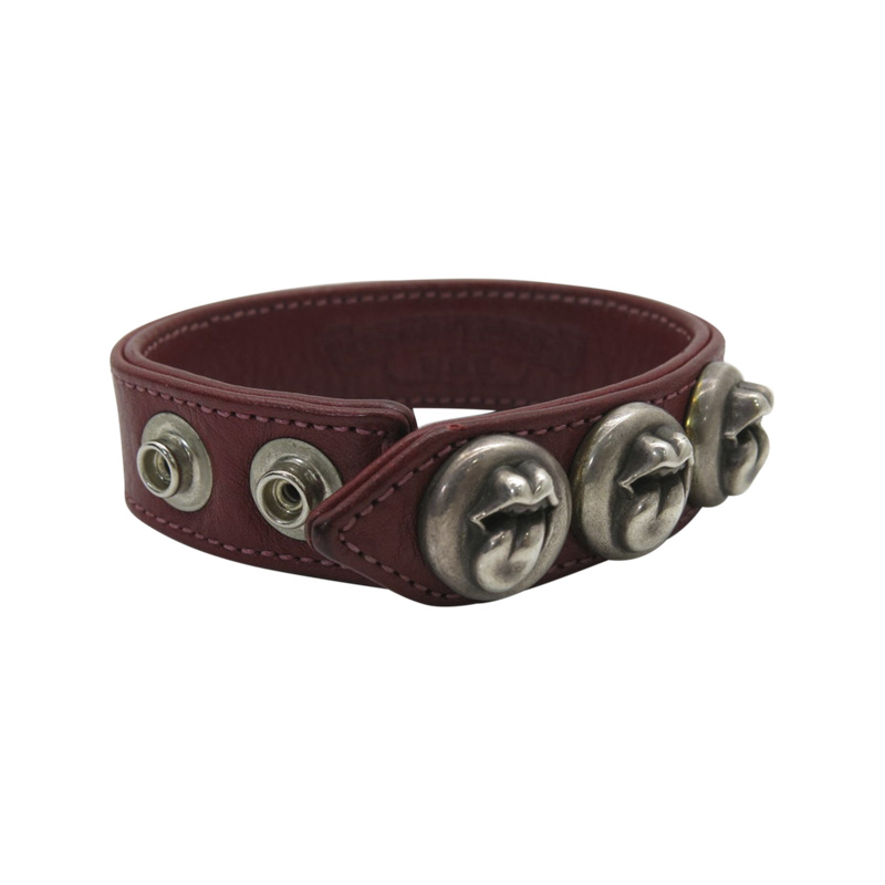 "Image of ""Chrome Hearts 925 Sterling Silver and Leather Bracelet"""