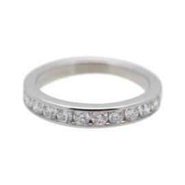Tiffany & Co. 950 Platinum with 0.24ct Round Brilliant Cut Diamond Half Circle Wedding Band Ring Size 3.75
