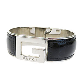 Gucci Silver Tone Hardware & Leather Logos Bangle Bracelet
