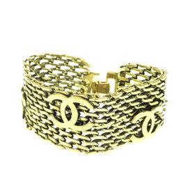 Chanel Vintage CC Gold-Tone Hardware Bangle Bracelet
