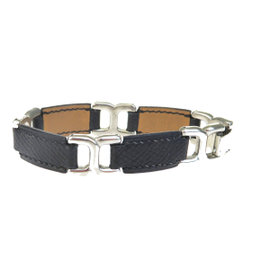 Hermes Leather & Silver Tone Hardware Bangle Bracelet