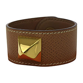 Hermes Studded Leather & Gold Tone Hardware Medor Bangle Bracelet