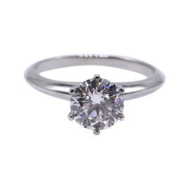 Tiffany & Co. Platinum with 1.29ct Round Brilliant Diamond Solitaire Engagement Ring Size 6