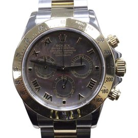 Rolex Daytona 116523 18K Yellow Gold & Stainless Steel Black Mother of Pearl Dial Automatic 40mm Mens Watch 2016