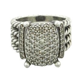 David Yurman Wheaton 925 Sterling Silver with 1.12ct Diamond Cocktail Ring Size 7